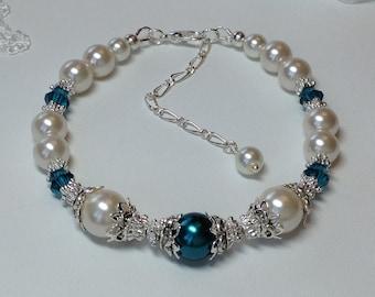 Pale Ivory Pearl  and Emerald  Crystal Bridal Bridesmaid  Bracelet