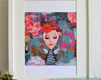 Enchanting angel art print.
