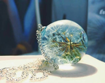 Exclusive Resin dandelion necklace: sterling silver 925 bridal jewelry wedding jewelry make a wish