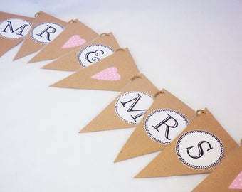 Mr and Mrs bunting, Mr & Mrs Bunting, wedding bunting, love bunting, married sign, rustic wedding, wedding decor, bride and groom bunting