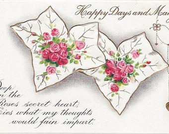 Vintage Valentine Postcard,  Original  Valentine, Roses and Leaves, B.B. London, Series No E49, Printed in Germany, circa 1900s