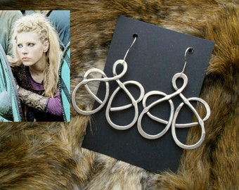 Viking Earrings: inspired Lagertha - hammered aluminum - made-medieval - viking, Celtic, Norse Cosplay, LARP