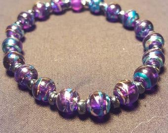 Beaded Bracelet - Metallic Stripes