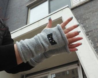 Knitted cat gloves, Cat Hand Warmer,Women Gloves,For Her,Valentines Day Gift,Long gloves,Gray  Fingerless Gloves,Cat Lover Gift,cat mittens