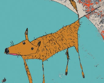 Dog print, dog art, dog illustration, nursery decor, gift for dog lover, mans best friend, dog cartoon, pooch, cute dog, brown dog,dog theme