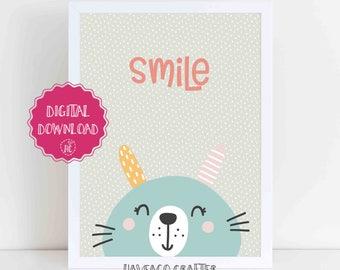 Digital download - Smile cute illustration print