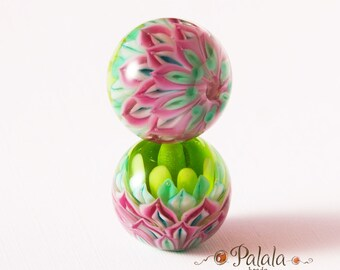 Pair of pink and green Lampwork Glass Beads