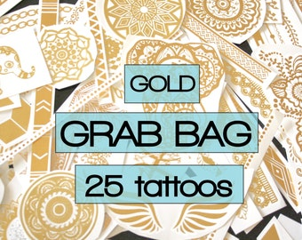 Grab bag of 25 pieces of gold metallic tattoos, party favours, flash, tattoos, temporary, stick on, body art, favors, loot, bollywood, rave