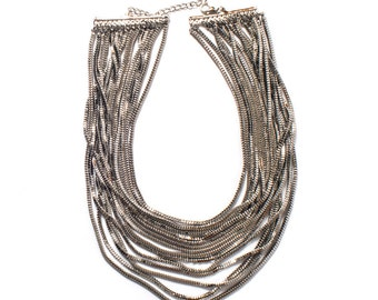 The Silver Waterfall Statement Necklace