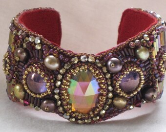 Award Winning Bead Embroidery Cuff Bracelet Scarlett and Gold titled Victorian Elegance