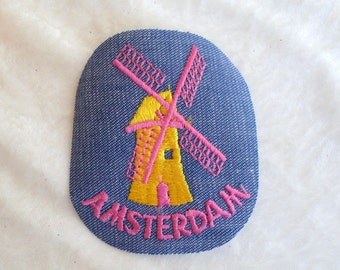 Amsterdam Netherlands Collectible Rare Iron On Vintage Sewing Patch Applique