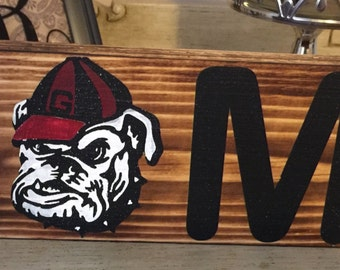 University of Georgia charred painted UGA Bulldogs wood sign