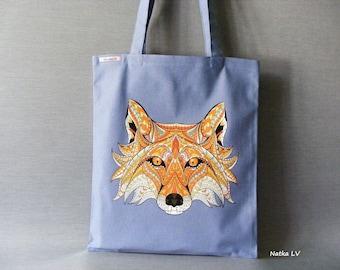 Jeans tote bag with fox, denim shopping bag, light blue tote, summer bag, grocery bag, canvas bag, market bag, beach bag, handmade bag
