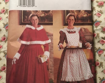 Mrs Claus Santa Suit Christmas Party Costume Hooded Cape Butterick 6816 12 14 16 Sewing Pattern Uncut Factory Folded UC FF Womens Misses