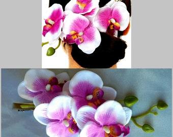 Purple Bridal Hair Flower Purple Hair Orchid Bridal Hair Pins Wedding Hairpins Bridal Hairwear Wedding Hair Pins Bridal Purple Hair Pins