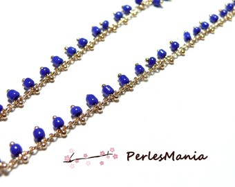 1 m chain seed beads, glass bead 2mm blue and gold, DIY chain