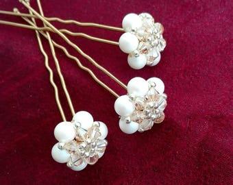 Set of three bridal hair pins, Ivory and gold hair pins, Swarovski pearls and crystals pins, Flowers hair pins