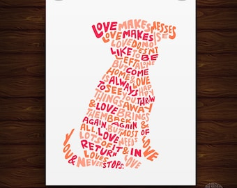 Hand Lettered Pink Love Is Like A Dog Quote Print, Animal Quote Print, Dog Print, Dog Lover Gift, Wedding Gift, Anniversary Gift