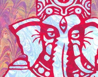 """Ganesha Ebru 8.5""""x11"""" Giclee Print"""