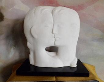 Contemporary Chalkware Sculpture Man And Woman 1988 Marked Ever_Modern Sculpture Wedding Gift_Kissing Couple Sculpture