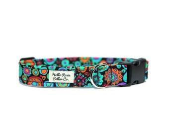 Boho Blue Collar / Blue Dog Collar / Boho Dog Collar / Blue Floral Collar / Spotty Dog Collar / Puppy Collar / Hello Rosie /Dog Collar
