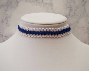 Blue and White Crochet Choker Necklace