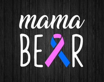 Mama Bear Awareness Ribbon Decal