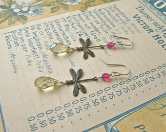 Garden earrings in citrus/fuchsia