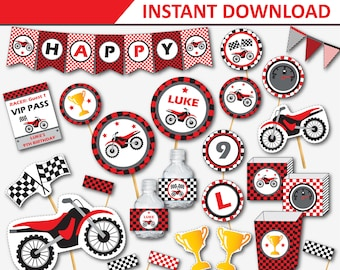 Dirt Bike Party - Motorcycle Birthday - Motocross Party - Dirtbike Birthday - Dirt Bike Decor - Motocross Party Printable (Instant Download)