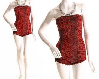 1950s Red Leopard Print Custom Made Strapless Swimsuit Playsuit - XS