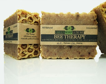 Bee Therapy Soap w/ Honey, Propolis, Royal Jelly, Pollen, Beeswax (6.4 oz to 6.8 oz) - UNSCENTED, all NATURAL Cold Process SOAP, Palm-Free