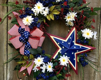 Patriotic wreath, Fourth of July wreath, Memorial Day wreath, Red white and blue, Summer wreath