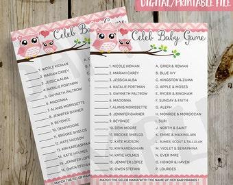 PRINTABLE Pink Owls Celebrity Baby Shower Game - Pink Owl Baby Shower DIY Instant Download Baby Shower Celeb Baby Game Digital File