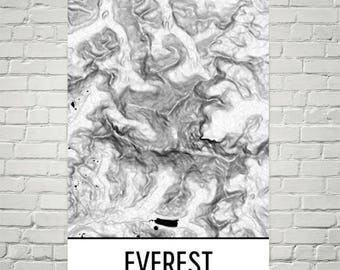 Mount Everest Print, Mt. Everest, Everest Print, Himilayan Topographic Map, Nepal Print, Hiking Gift, Nepali Art, Contour Lines, Climbing