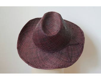 Sun Hat, tooled, finely handwoven raffia, with a bow on the side, chestnut brown color