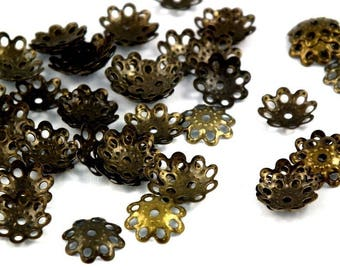 X 50 PCs cups ♥ antique bronze 10mm ♥