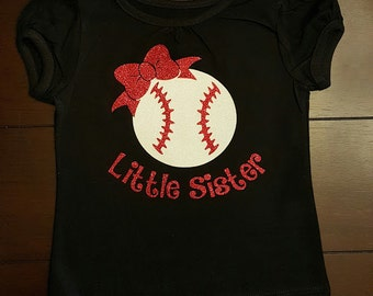 Baseball Little Sister Shirt Glitter Vinyl Personalized