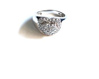 Stunning Diamond Pave Heart Ring | 14k White  Gold Setting
