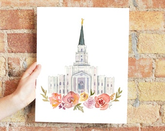 Houston, Texas LDS Temple Watercolor