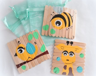 Games for kids, Puzzles for kids, Wooden puzzles, Busy bag activity, Set of puzzles, Wood toy, Puzzles animals, Christmas gift for kids