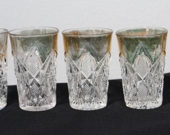 Antique U. S. Glass Co., Pennsylvania Pattern (#15048) Juice Glasses with Gold Trim