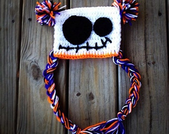 Halloween hat - monster hat - skeleton hat - braided hat - monster beanie - skeleton beanie - halloween beanie - fall hat - free shipping