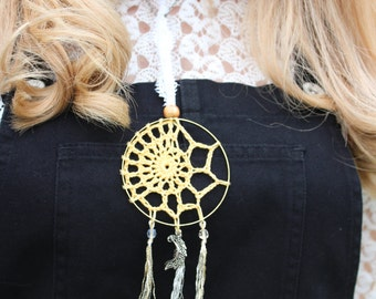 Crochet Dream Catcher Handmade Lace Boho Hippy Hippy Shabby Chic Whimsical Fairy Nature Natural
