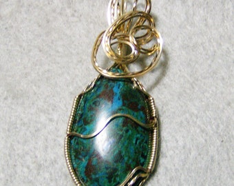 Wire Wrapped Pendant - Handmade Exquisite Chrysocolla & Azurite Cabochon in 14k Gold Filled Wire by JewelryArtistry - P747