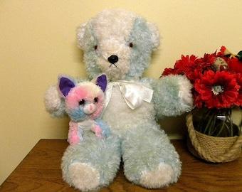 """Blue Teddy Bear 22"""" - 1970's Plush Toy"""