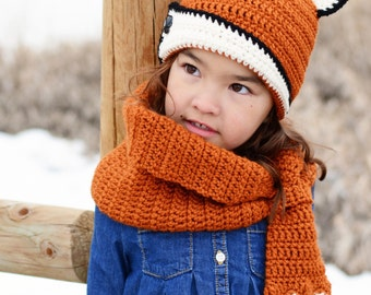 CROCHET PATTERN - Fox Fancy Hat & Cowl - crochet fox hat pattern, crochet hat pattern (Toddler, Child, Adult sizes) - Instant PDF Download