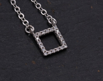 Sterling Silver Geometric Square Pendant Necklace with Sparkly Crystals - Minimalist Design  - 16'' - 18'' H105