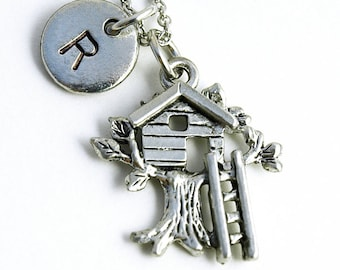 Tree house necklace, tree house charm, treehouse, initial necklace, initial hand stamped, personalized, antique silver, monogram