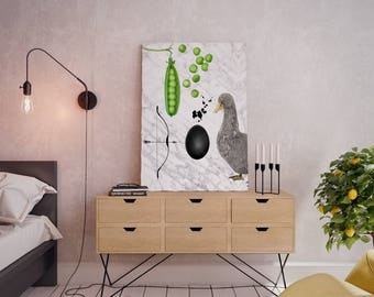 Wall art collage canvas print image - Duck