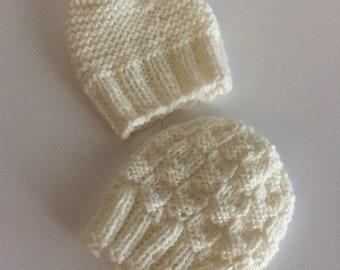 Preemie/newborn baby hats , set of two